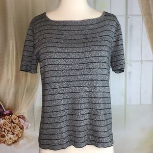 Liz Claiborne Gray Striped Knit Short Sleeved Top